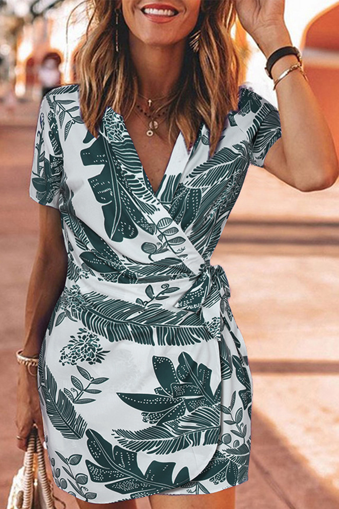 Casual Print Bandage V Neck Pencil Skirt Mini Dresses
