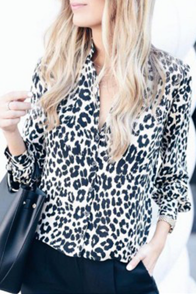 Casual Dot Leopard Split Joint Turndown Collar Tops