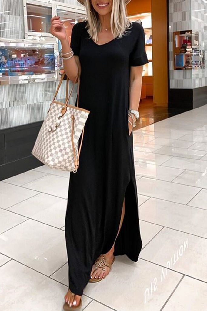 Casual Solid Slit V Neck Irregular Dress Dresses