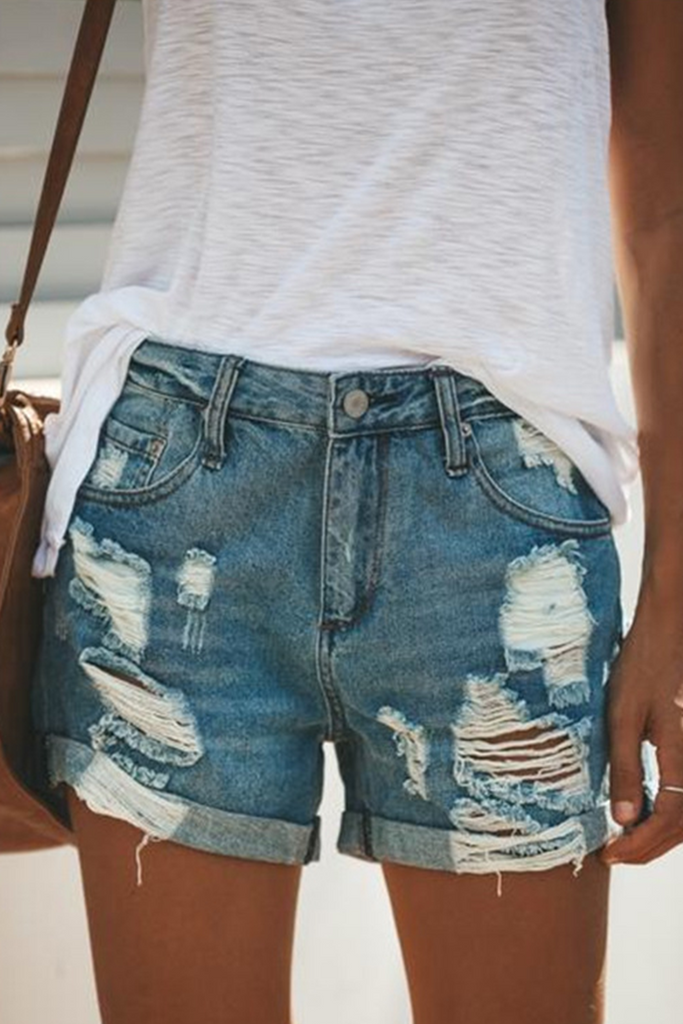 Street Solid Ripped Mid Waist Straight Denim Shorts