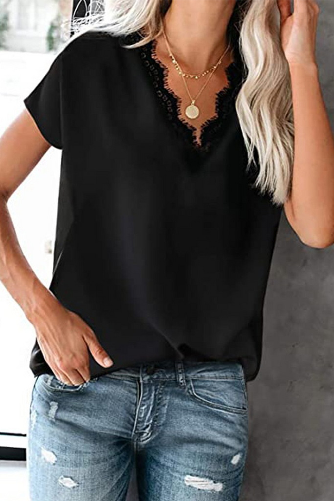 Casual Print Lace Split Joint V Neck T-Shirts