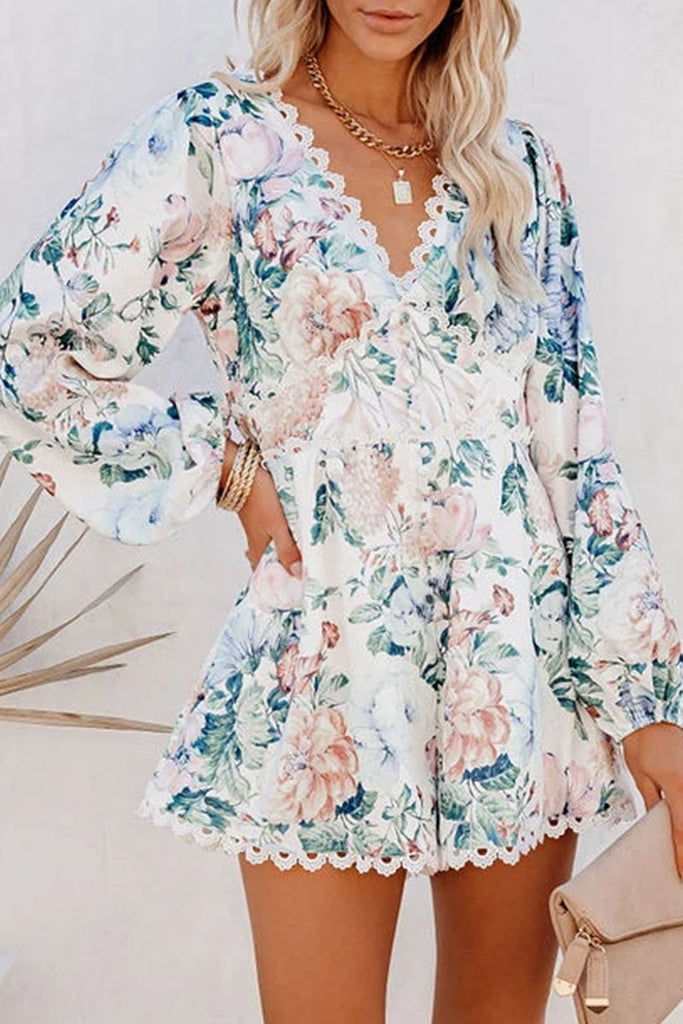 Fashion Street Print Split Joint V Neck Loose Jumpsuits