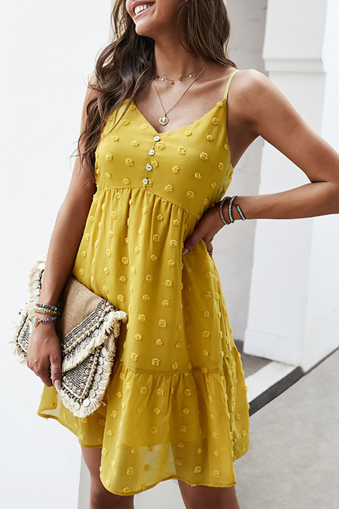 Fashion Street Solid Split Joint V Neck A Line Dresses