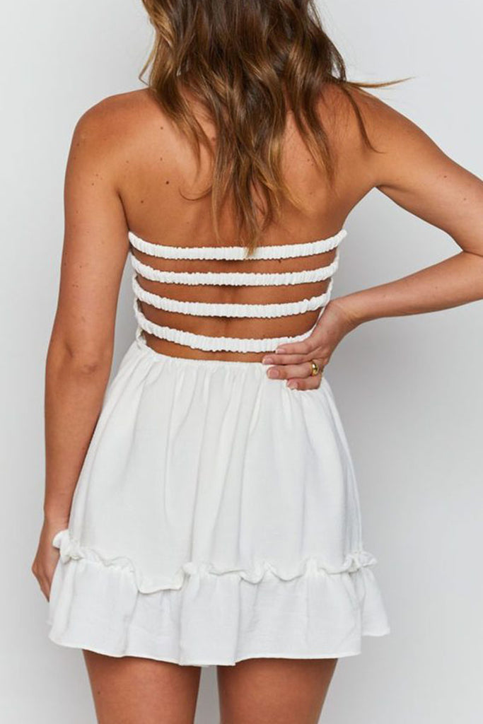 Fashion  Simplicity Solid Backless Strapless A Line Dresses