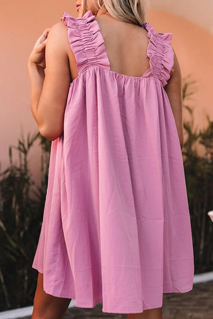 Fashion Casual Solid Split Joint Square Collar Princess Dresses