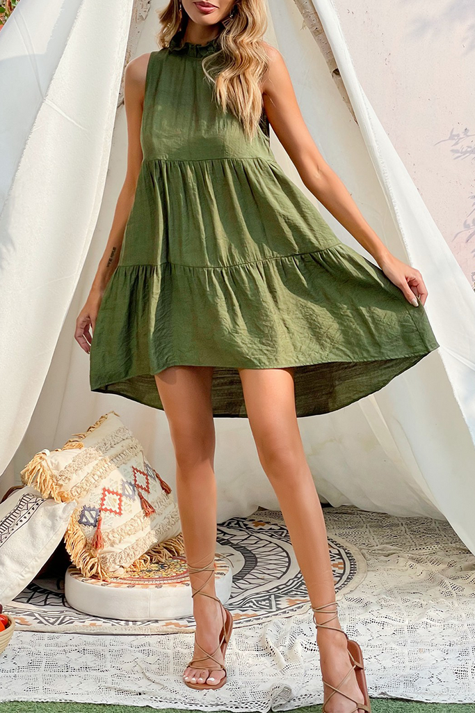 Casual Solid Split Joint Stringy Selvedge O Neck A Line Dresses