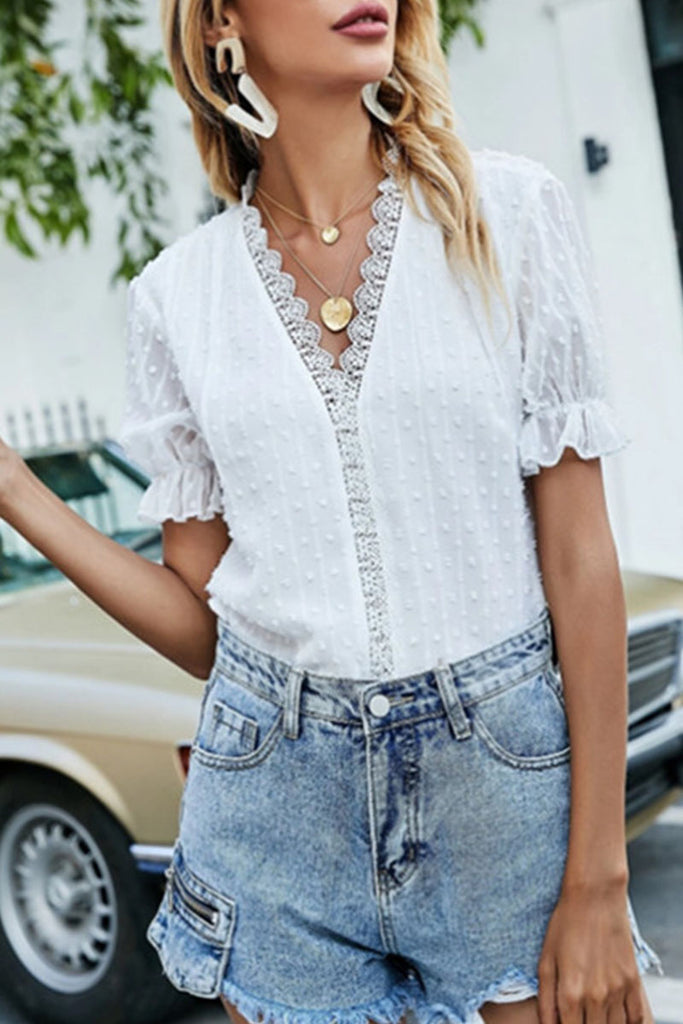 Fashion Casual Solid Split Joint V Neck Tops