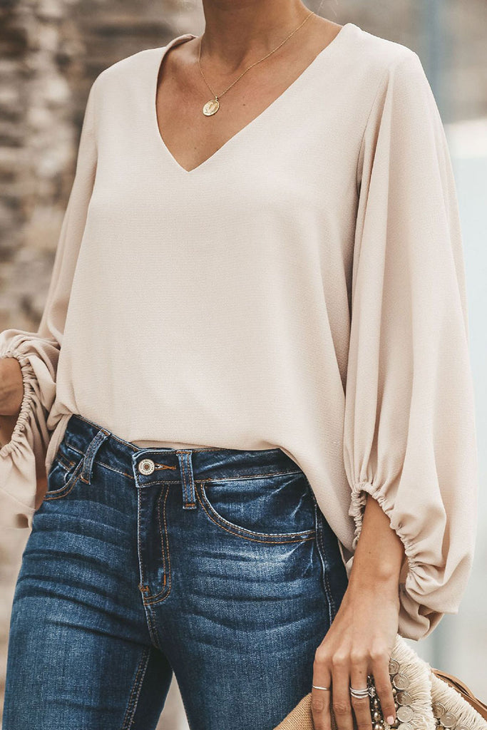 Fashion Street Solid Split Joint V Neck Tops