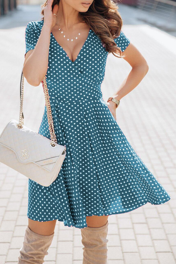 Elegant Dot Basic V Neck A Line Dresses