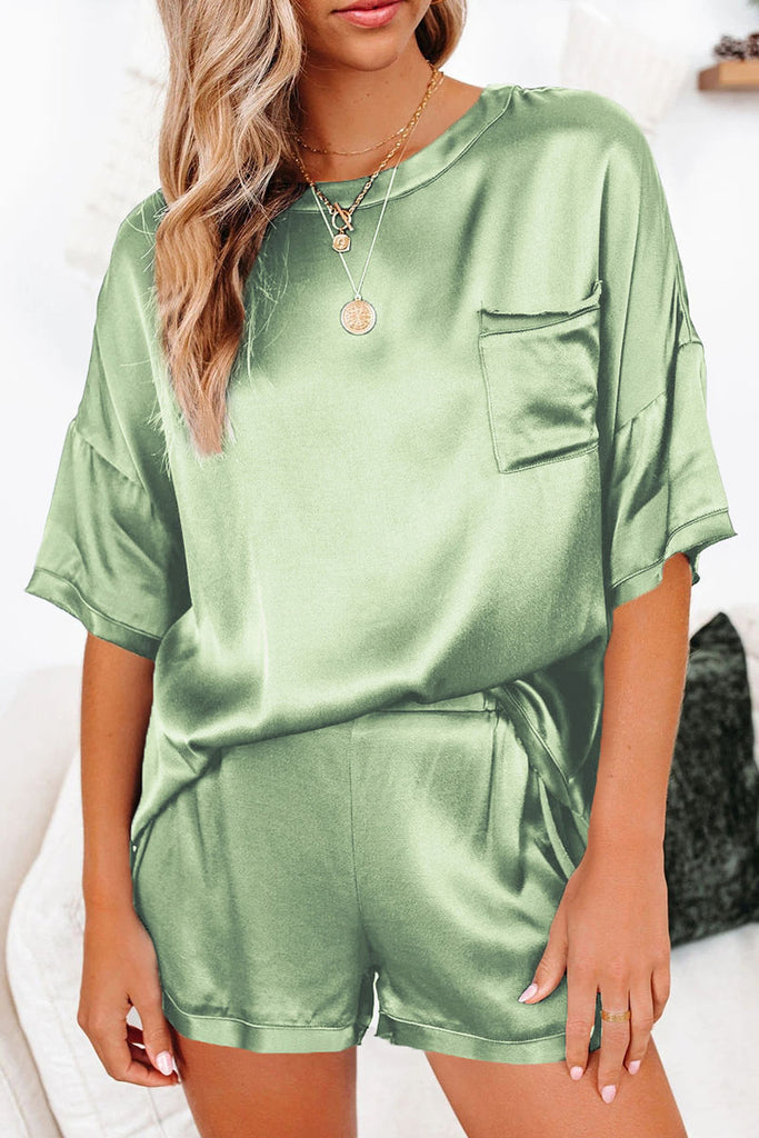 Fashion Living Solid Split Joint O Neck Short Sleeve Two Pieces