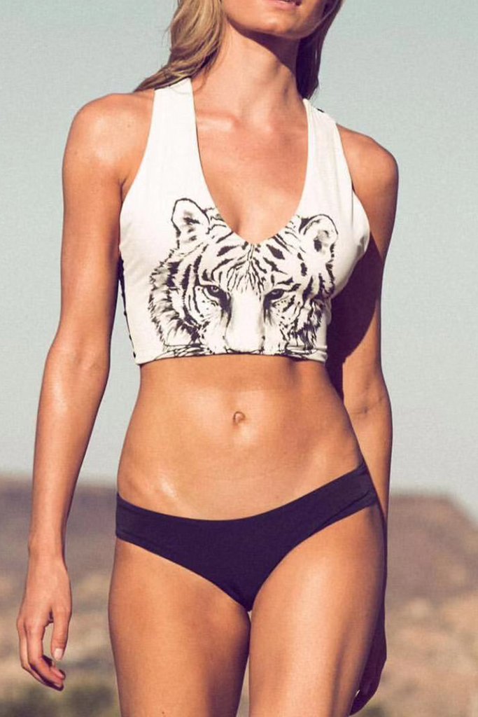 Casual  Vacation Animal Print Swimwears