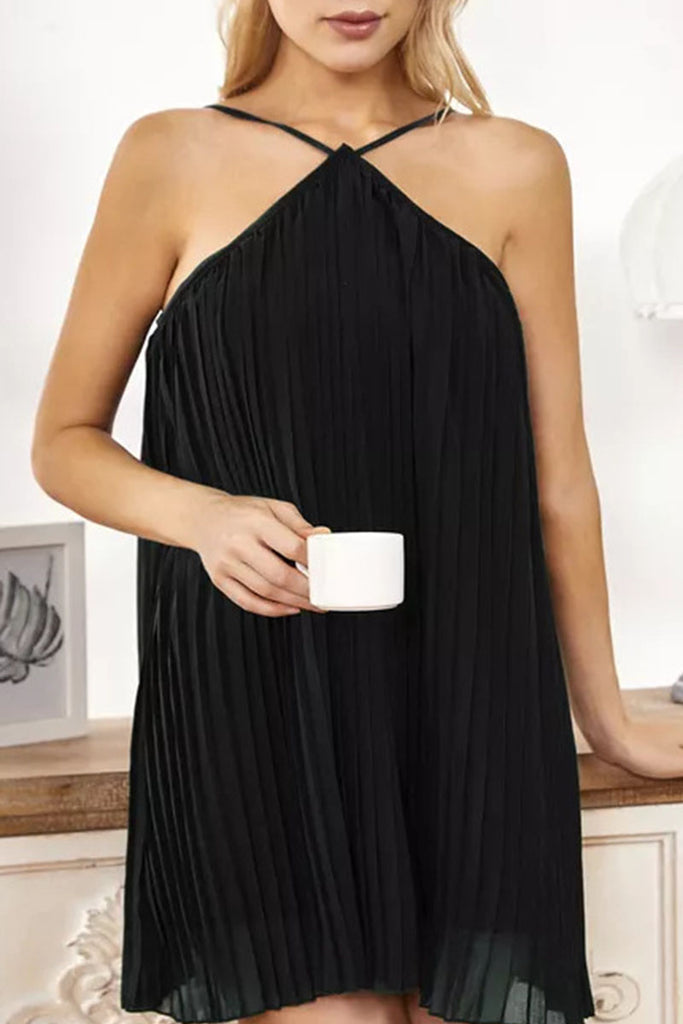 Fashion Casual Solid Backless Halter Pleated Dresses