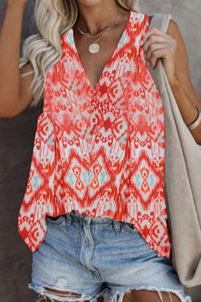 Fashion Casual Print Split Joint V Neck Tops