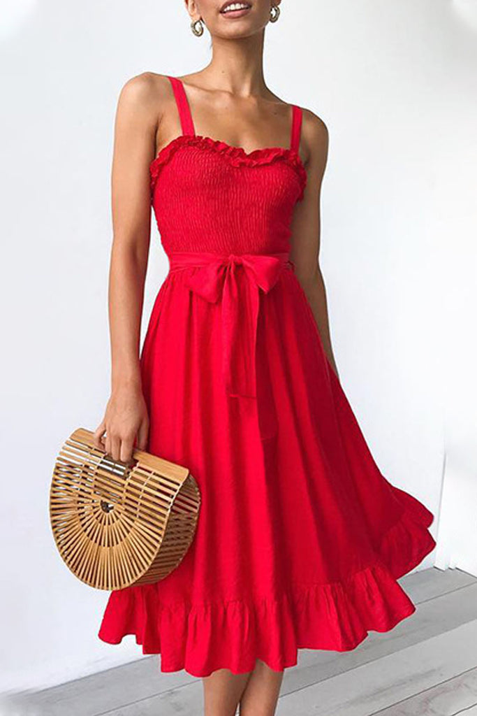 Fashion Casual Solid Split Joint Spaghetti Strap A Line Dresses