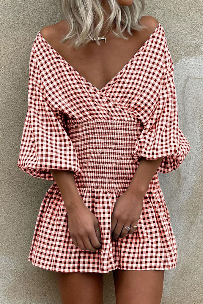Fashion Street Plaid Split Joint V Neck Waist Skirt Dresses