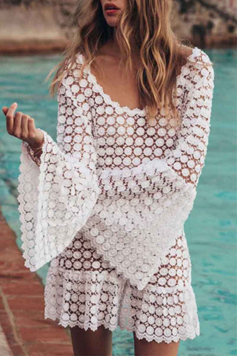 Florcoo Sexy Round Neck Beach Cover-up
