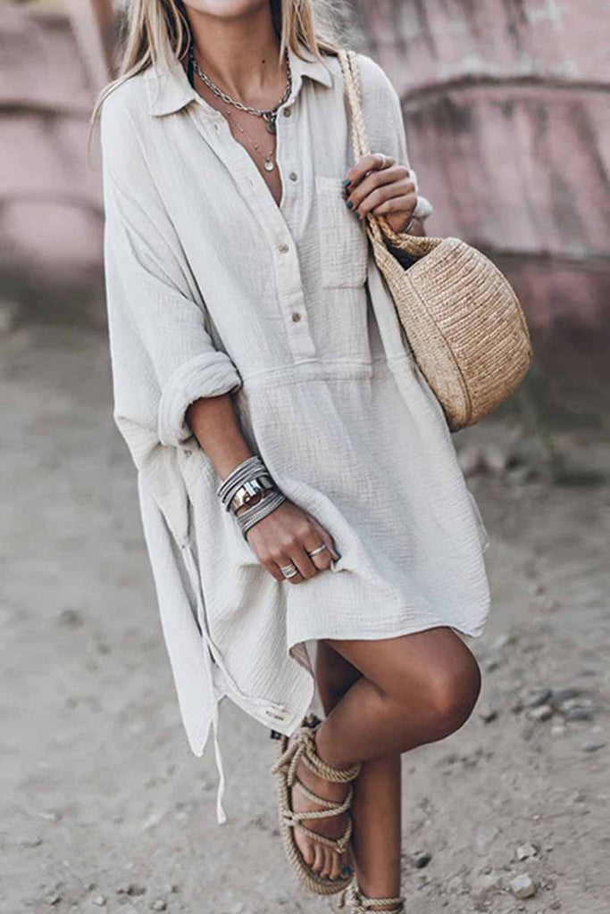 Florcoo Casual loose V-Neck Cotton And Linen Long Sleeves Mini Dress