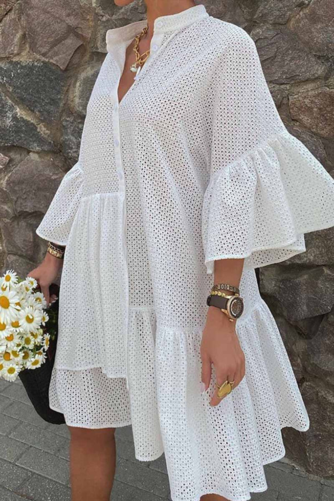 Florcoo White Irregular Cutout Dress