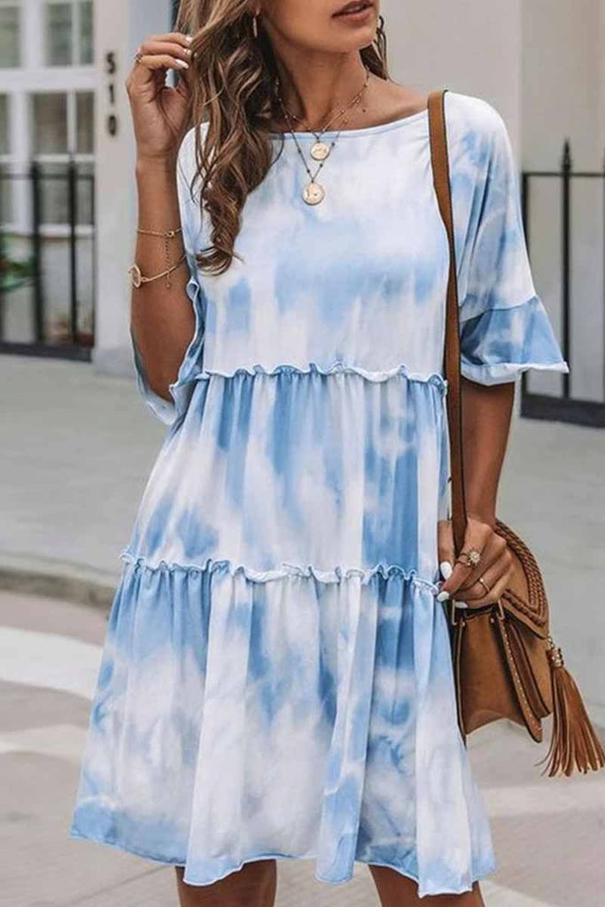 Florcoo Cute Tie-dye Midi Dress