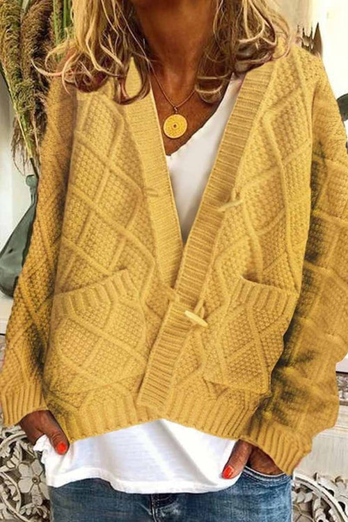 Florcoo Solid Ribbed Horn Buckle Pockets Cardigan