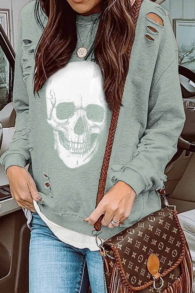 Florcoo Skull Printed Sweatshirt(2 Colors)