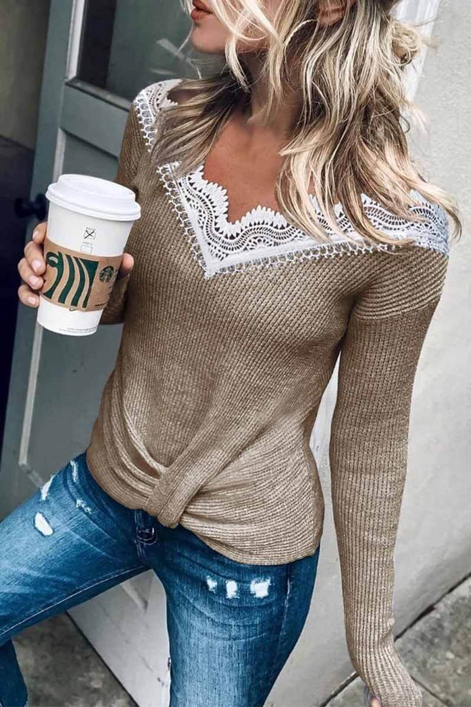 Florcoo Stylish Lace Patchwork Grey Sweater (3 Colors)