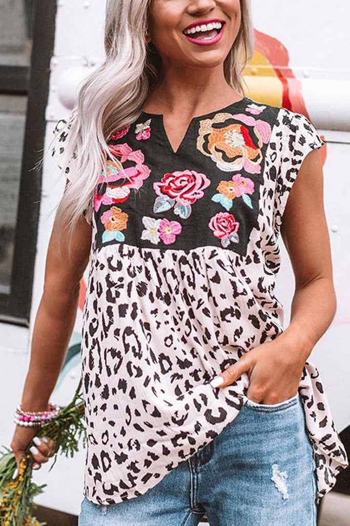 Florcoo Leopard Short Sleeve Summer T-shirt
