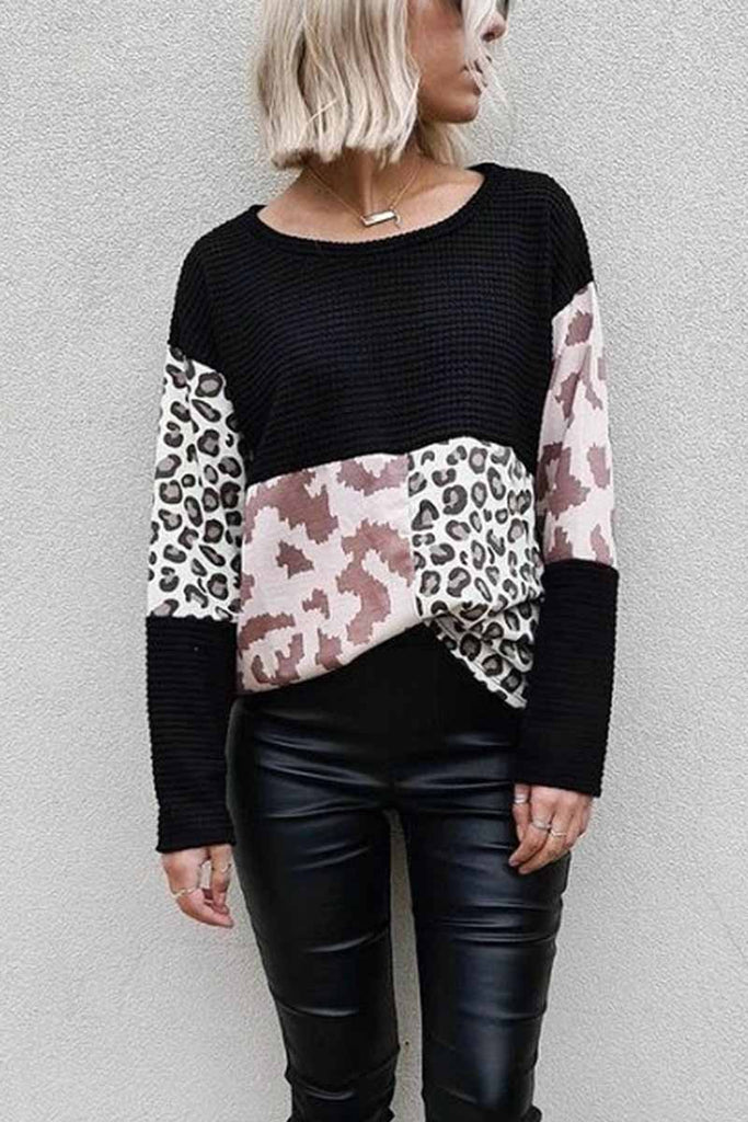 Florcoo Leopard Patchwork Printed Sweater