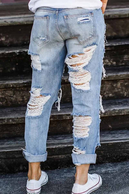 Florcoo On-trend Ripped Straight Jeans