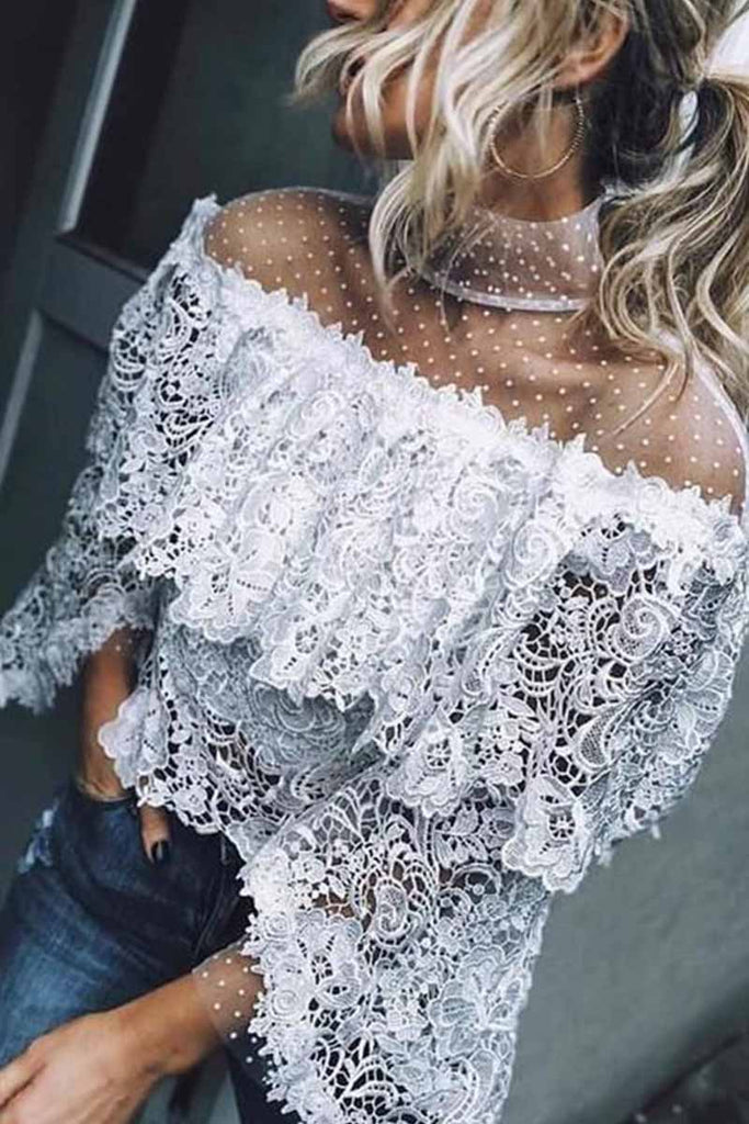 Florcoo Mesh Stitching Irregular Lace Hollow Tops