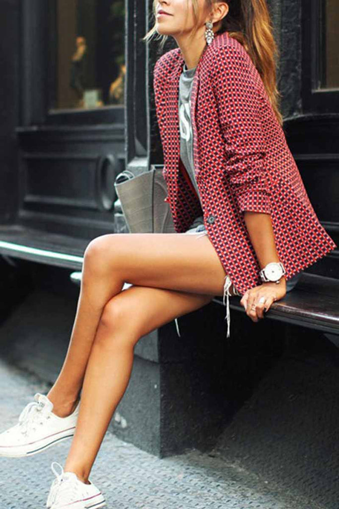 Florcoo Red Plaid Short Coat