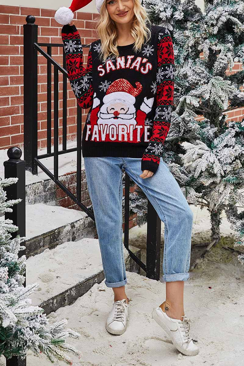 Florcoo Santa Embroidered Round Neck Knitted Sweater