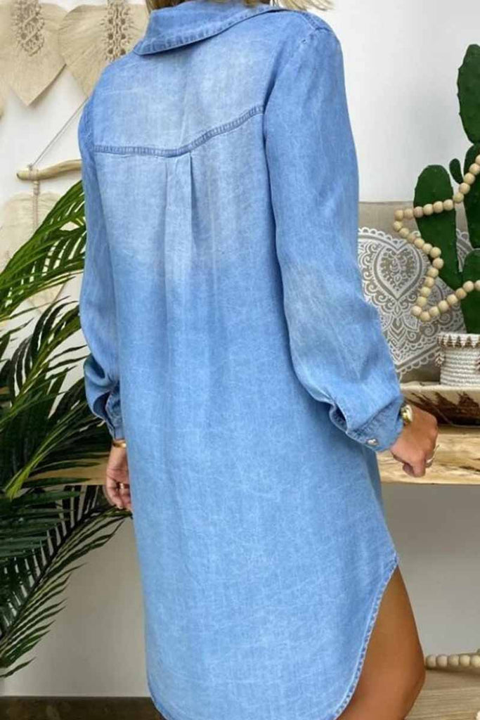Florcoo Buttoned Pockets Design Denim Dress
