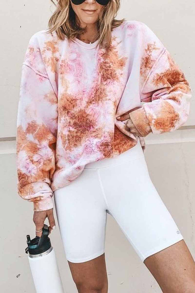 Florcoo Tie-Dye Colorful Long Sleeve Tops