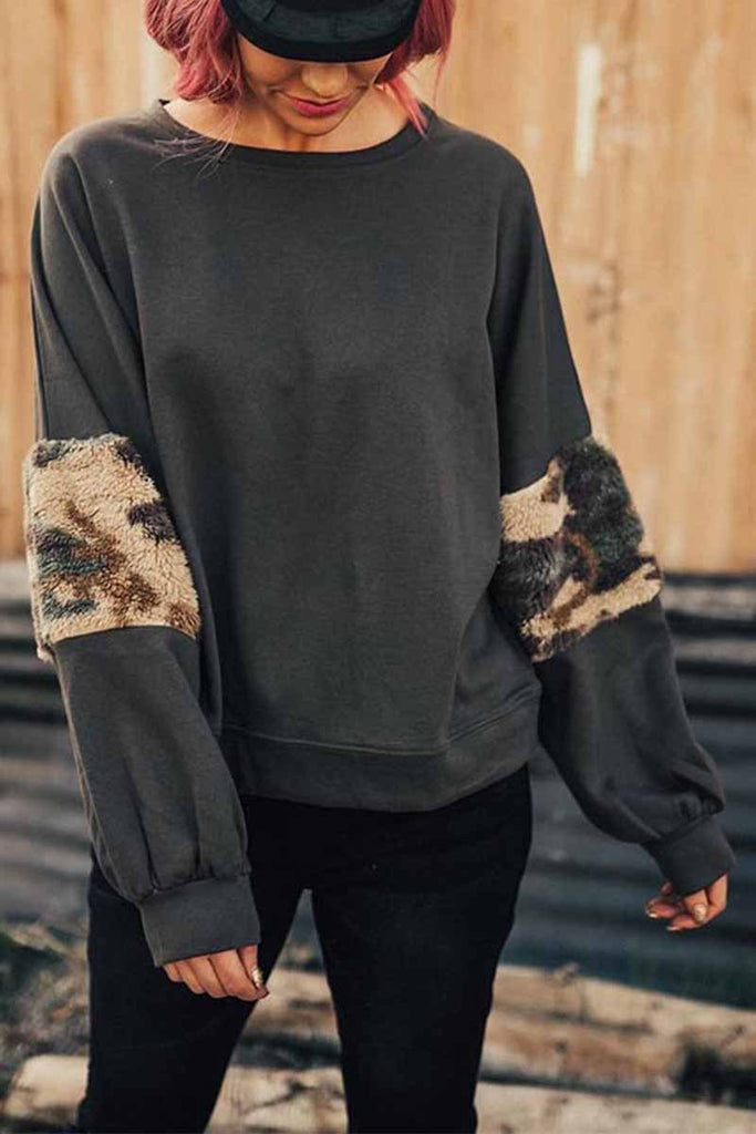 Florcoo Sleeve Leapord Patchwork Sweatshirt