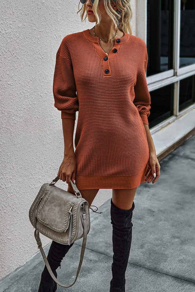 Florcoo Soild Color Knitted Sexy Dress