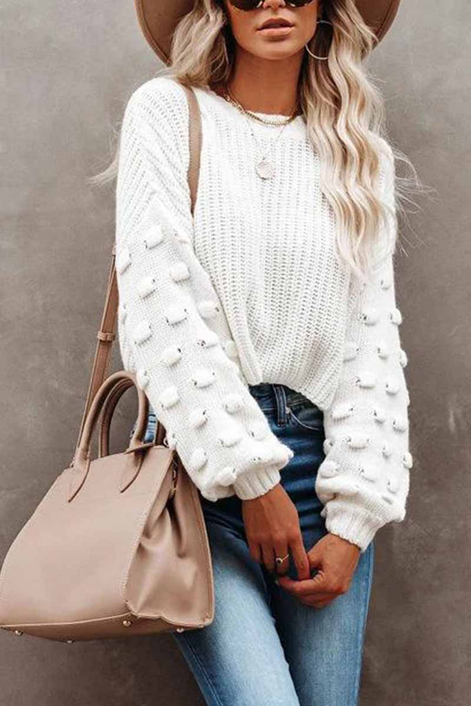 Florcoo Cute Solid Color Knitted Crew Neck Sweater