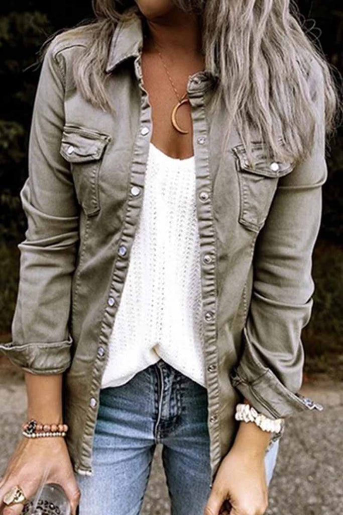 Florcoo Long Sleeve Solid Color Denim Jacket