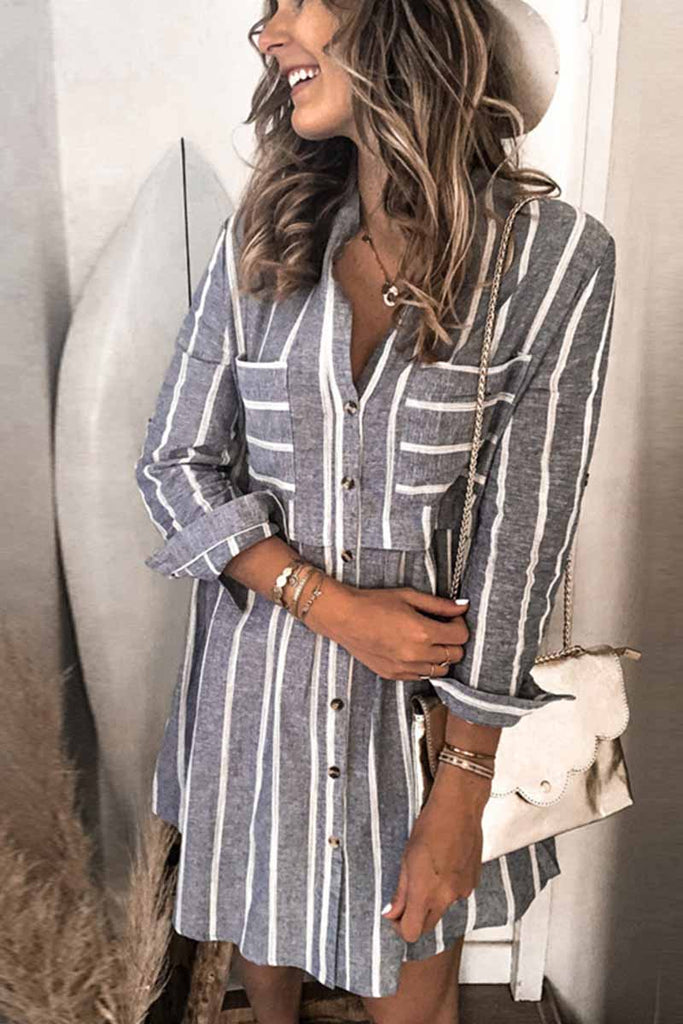 Florcoo Striped Stitching High Waist Pocket Shirt Mini Dress