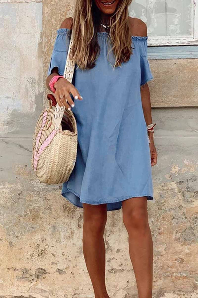 Florcoo Summer One-Shoulder Lotus Leaf Sleeve Denim Mini Dress
