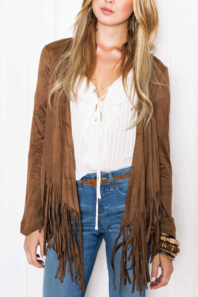 Florcoo Tassel Solid Color Short Coat