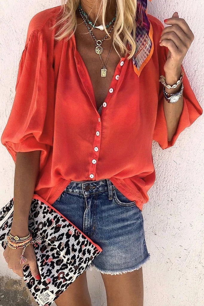Florcoo Buttons Design Lace-up Red Blouse