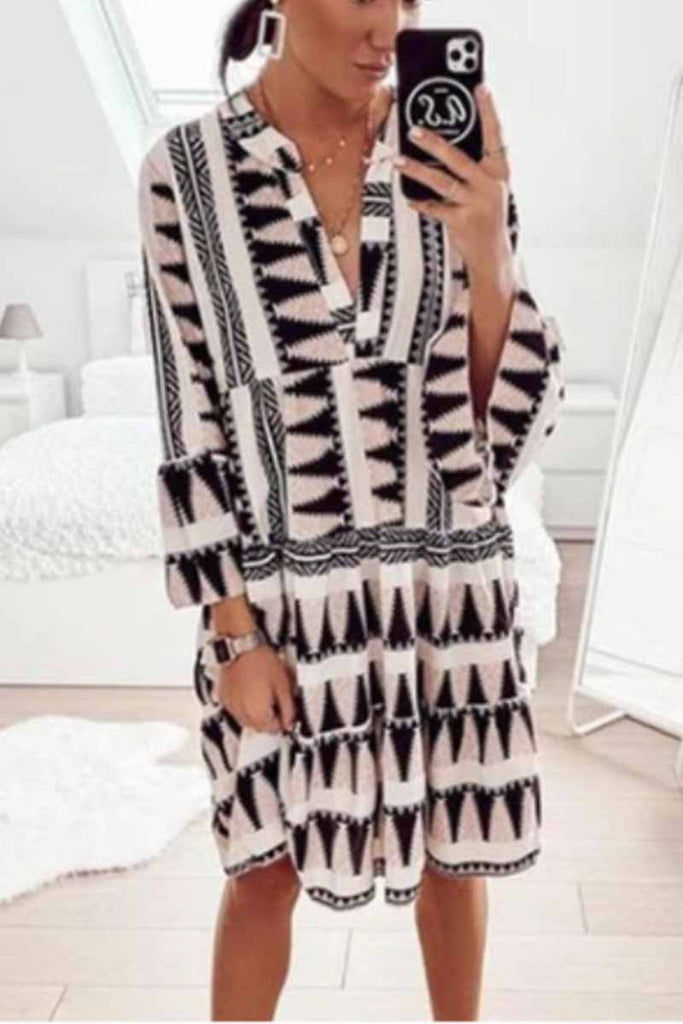 Florcoo Geometric Print V-Neck Mini Dress