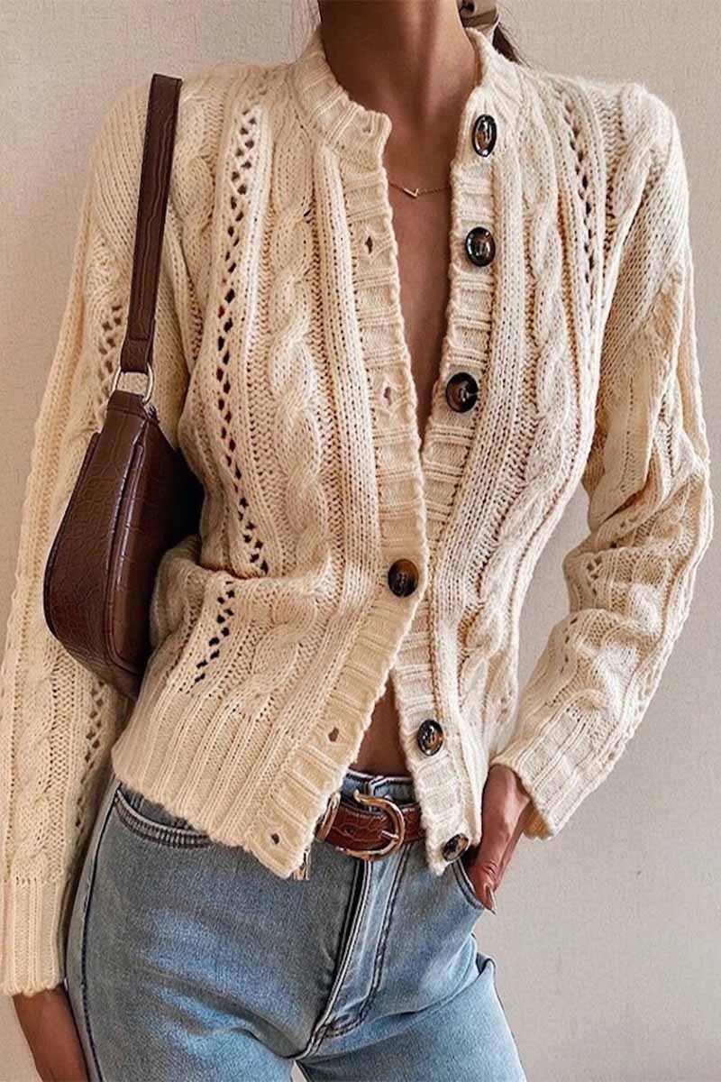 Florcoo Half Turtleneck Solid Color Knitted Cardigan Sweater