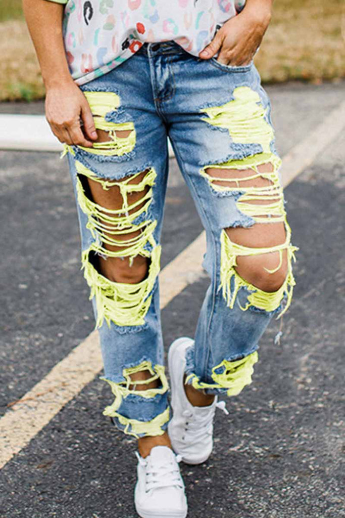 Florcoo Yellow Ripped Sexy Jeans