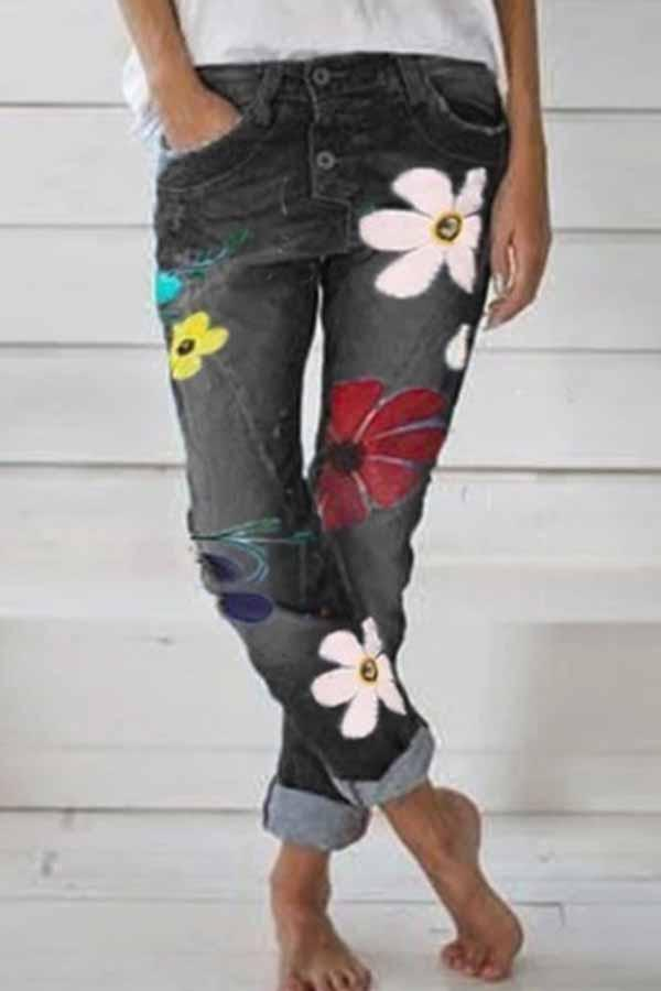 Florcoo Regular Waist Flower Print Regular Fit Casual Wear Jeans