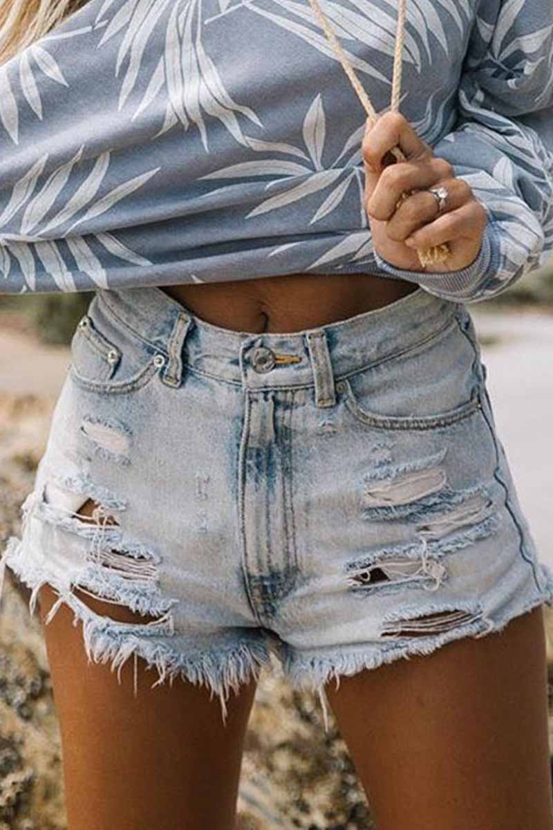 Florcoo High Waist Ripped Fringed Denim Shorts