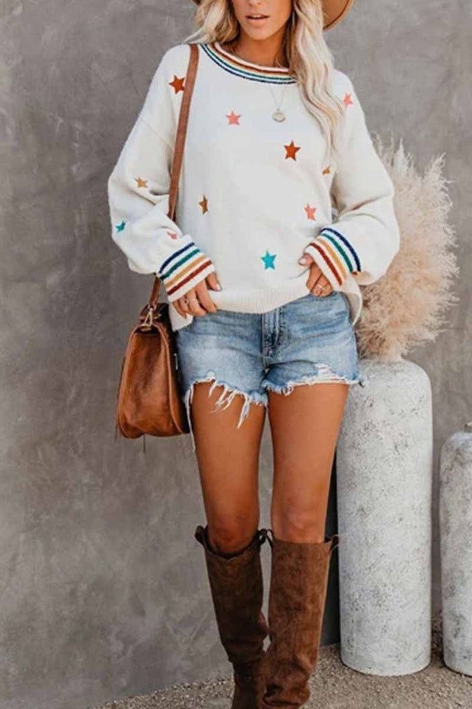 Florcoo Fashion Loose Star Print Sweater