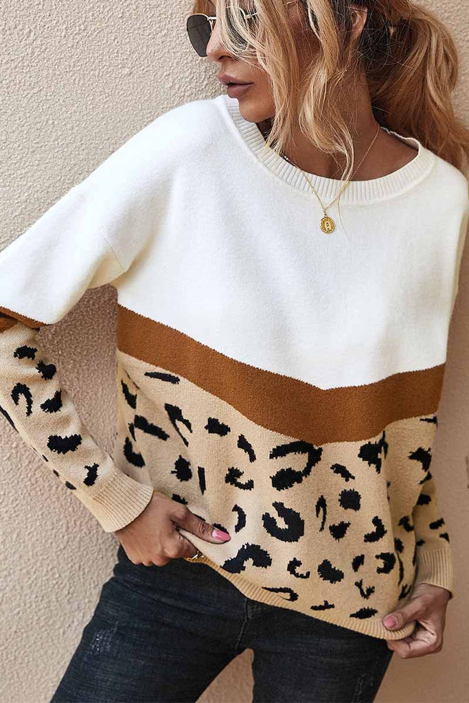 Florcoo Autumn And Winter Leopard O-neck Sweater