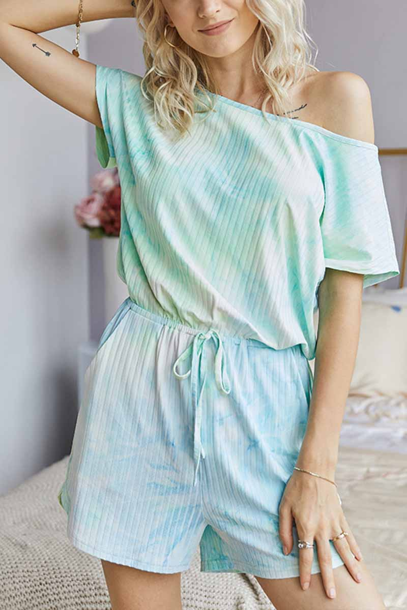 Florcoo Tie-dye Striped Casual Rompers